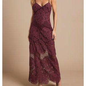 TOBI 'WINE' LACE DRESS